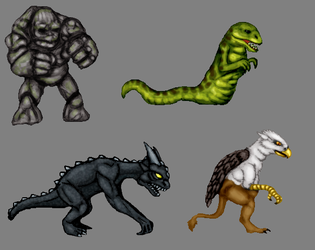 Golem,Wyrm,Gargoyle,Griffin Color Concepts by CosbyDaf