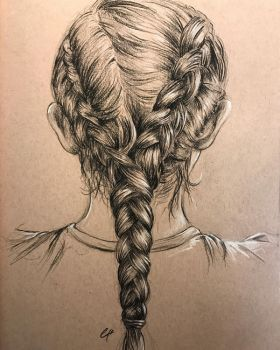 Braid study in charcoal pencil, hotel room sketch by leversandpulleys