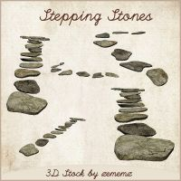 3D Stepping Stones by zememz