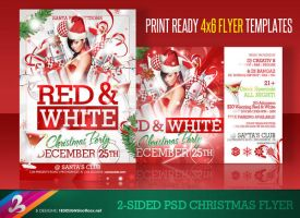 RED AND WHITE Christmas Flyer Templates by AnotherBcreation