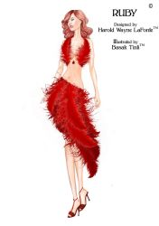 Ruby and Feathers Red Dress Fashion Illustration by BasakTinli