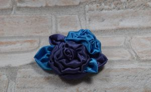 Blue purple hair fascinator/brooch (available) by TheBohoCraftsShoppe