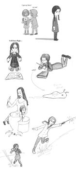 Wednesday Adams AU Sketch Dump by Arkham-Insanity