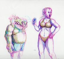 Daily Sketch: Troll Meets Lady by Hunchy