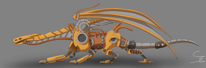 Long steampunk dragon cell shaded by M1ntGr33n