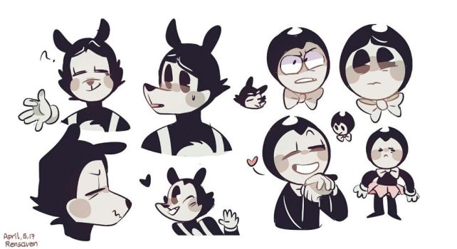 Bendy and the ink machine doodles by Rensaven