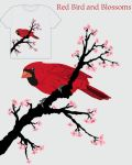 Red Bird and Blossoms by DrStein
