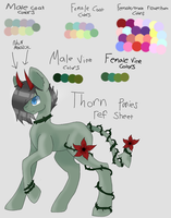 Thorn Ponies Ref Sheet(More info in the disc.) by Feathershock