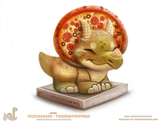 Daily Paint 1766# Pizzasaurus - Triceratoppings by Cryptid-Creations