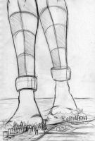 Giantess Sketch - A walk ON the cities by Colonel-Gabbo