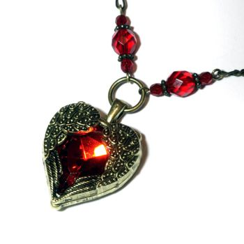 Necklace - Red Jewel Winged Heart by CatherinetteRings