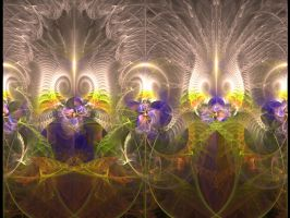 Violets in enchanted garden by iside2012