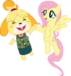 Fluttershy and Isabelle by CloudyGlow