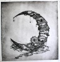 Moon City Drypoint by neon999