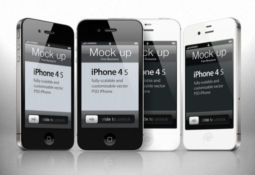 Free iphone 4s Psd Vector by Pixeden