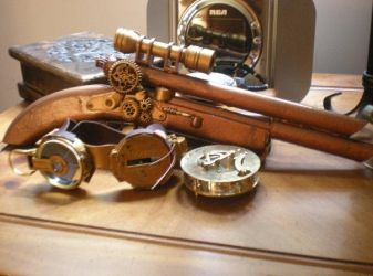 Steam punk goggles and gun by Moriarty93