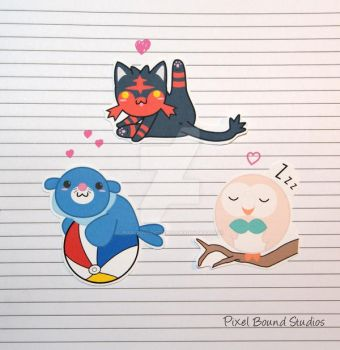 Litten/Popplio/Rowlet Stickers and Magnets by pixelboundstudios