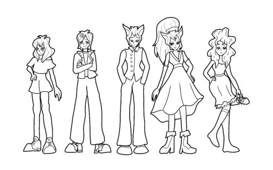 Vocamerica Cast (Lineart) by Scusa-chan42
