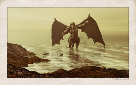 Cthulhu rising from the sea by metabolid