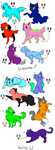 Canine And Feline Adoptables LOWER PRICES (3 Left) by ToxicSkullie027