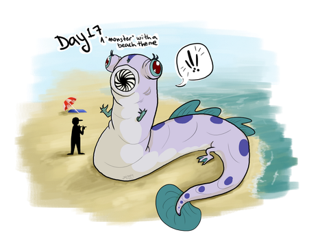 Day 17 - Beach Theme Monster by Just-Joeying