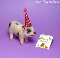 Ooak 1:12 Piglet in Polymer clay Furred by AGZR-STUDIOS