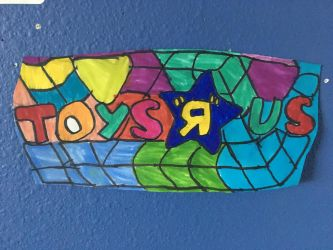Toy R US Logo Art Colorful Design Drawing  by NWeezyBlueStars23