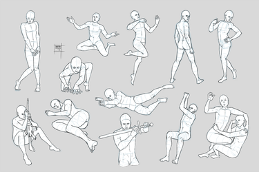 Sketchdump June 2017 [Poses 1] by DamaiMikaz