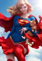 Supergirl and Streaky by Artgerm