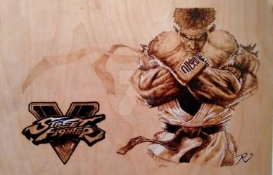 Ryu Street Fighter V Wood Burning Pyrography by KealeS