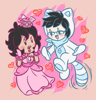 Gift: The Ice Cream Princess and her loyal Tanooki by BoxBird