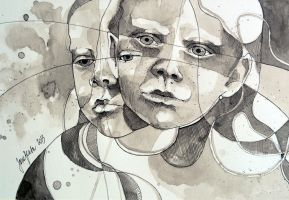 Made of two, ink study by jane-beata