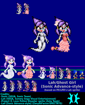 Lah/Ghost Girl sprite (Sonic Advance-style demake) by ZenythFactor