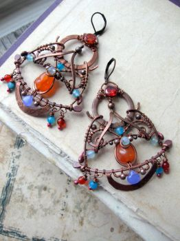 Wire Wrapped Eastern earrings by Lirimaer86