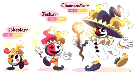 FAKEMON: Jokestarr, Jestarr, Clowncastarr by MAST3R-RAINB0W