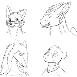 Head lineart practice by TinyProto
