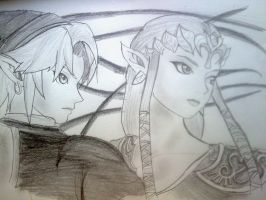 Link and Zelda by hazeldarkman