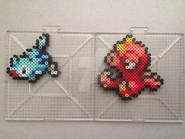 #223-#224 Remoraid and Octillery Perlers by TehMorrison