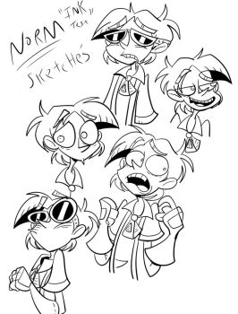 Norm ink test sketches by FreaklySilent
