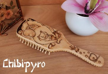 wooden hairbrush cat on heart balloon by ChibiPyro