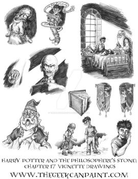 Harry Potter: Book 1 Chapter 17 Vignette Drawings by TheGeekCanPaint