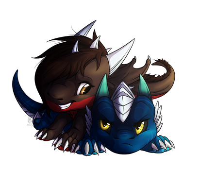 Chibi YCH - Lilly and Glavihan by Hatchy-Bridy