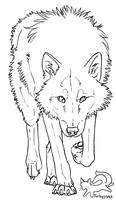 Wolf lineart - free to use by furbyprince