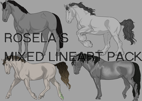 Rosela's Mixed Equine Lineart Pack by Rosela