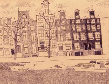 Autumn in Amsterdam by drawingsbycharlotte