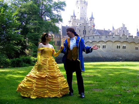 Belle and Prince in front of the castle by LunaBergkristall
