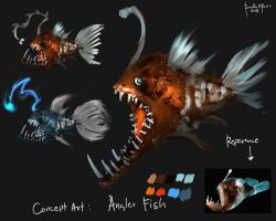 Concept Art Angler Fish by benedickbana