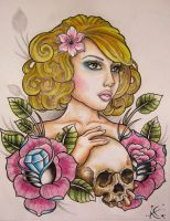 Lady and Skull by Frosttattoo