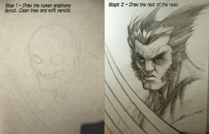 TUTORIAL HOW TO DRAW WOLVERINE IN TWO EASY STEPS by Sandoval-Art