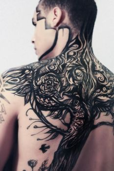 Custom painted Tattoo design. Body art. by NatashaKudashkina